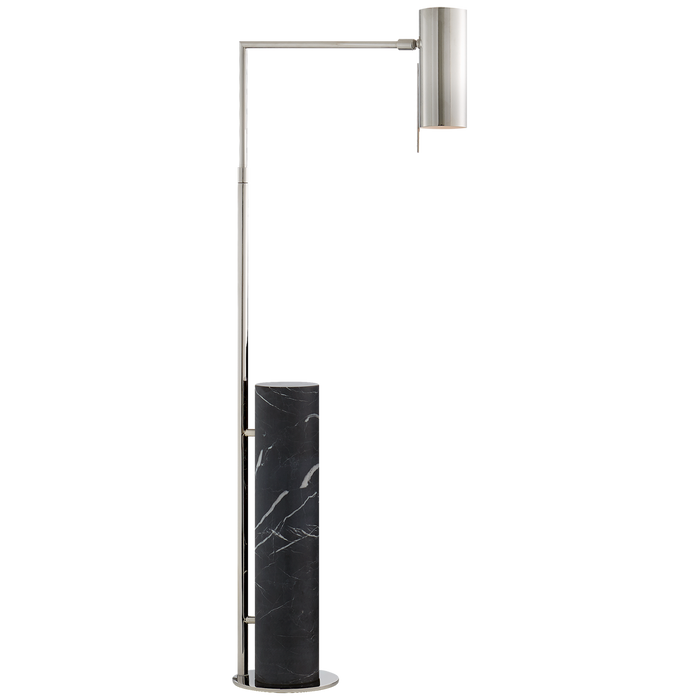 Alma Floor Lamp - Polished Nickel Finish with Black Marble