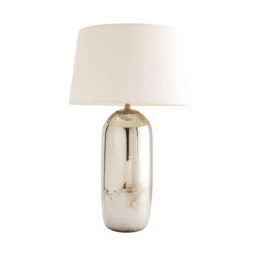 Anderson Table Lamp - Antique Mercury & Off-White Silk Shade