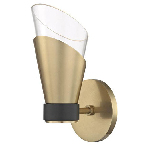 Angie Single Light Wall Sconce Aged Brass