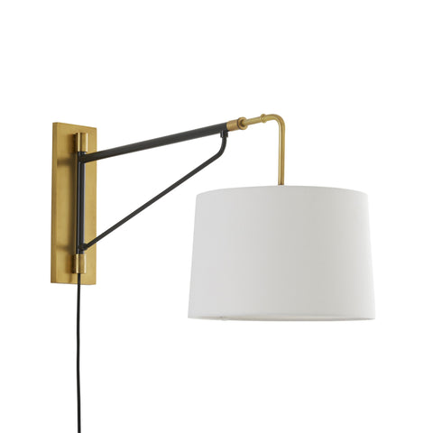 Anthony Sconce - Antique Brass and Bronze finish with Linen Shade