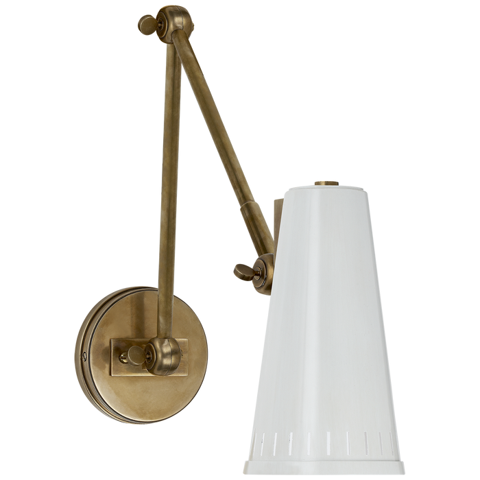 Antonio Adjustable Two Arm Wall Lamp - Hand-Rubbed Antique Brass/White Shade