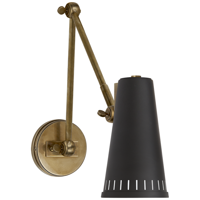 Antonio Adjustable Two Arm Wall Lamp - Hand-Rubbed Antique Brass/Black Shade