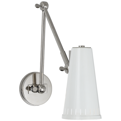 Antonio Adjustable Two Arm Wall Lamp - Polished Nickel/White Shade