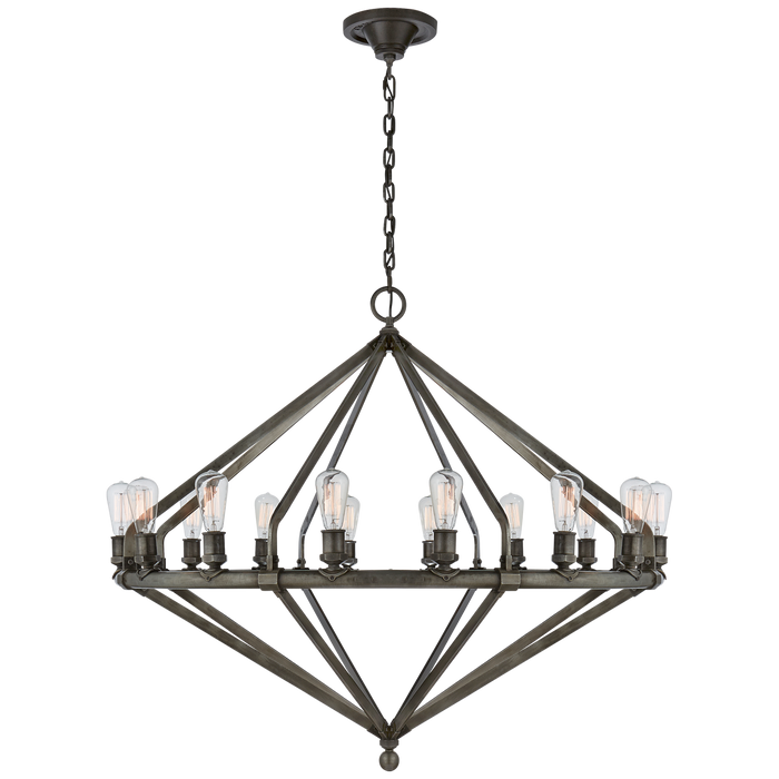 Archer Extra Large Chandelier - Industrial Steel Finish