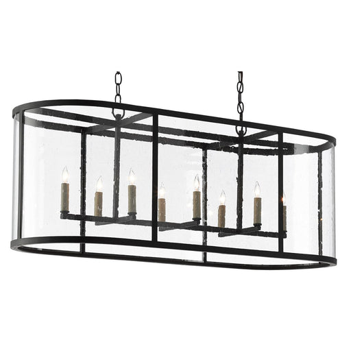 Argand Oval Chandelier - Antique Black Finish