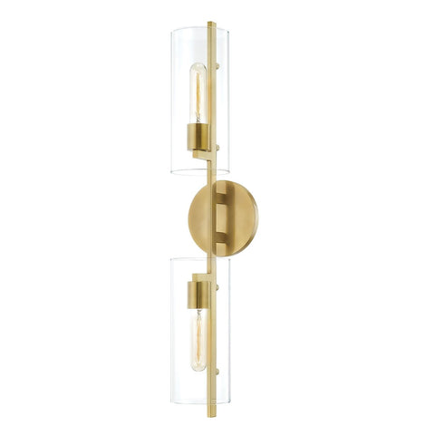 Ariel 2-Light Wall Sconce - Aged Brass