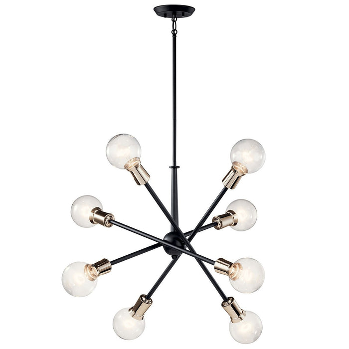 Armstrong 8-Light Chandelier - Black/Brass Finish
