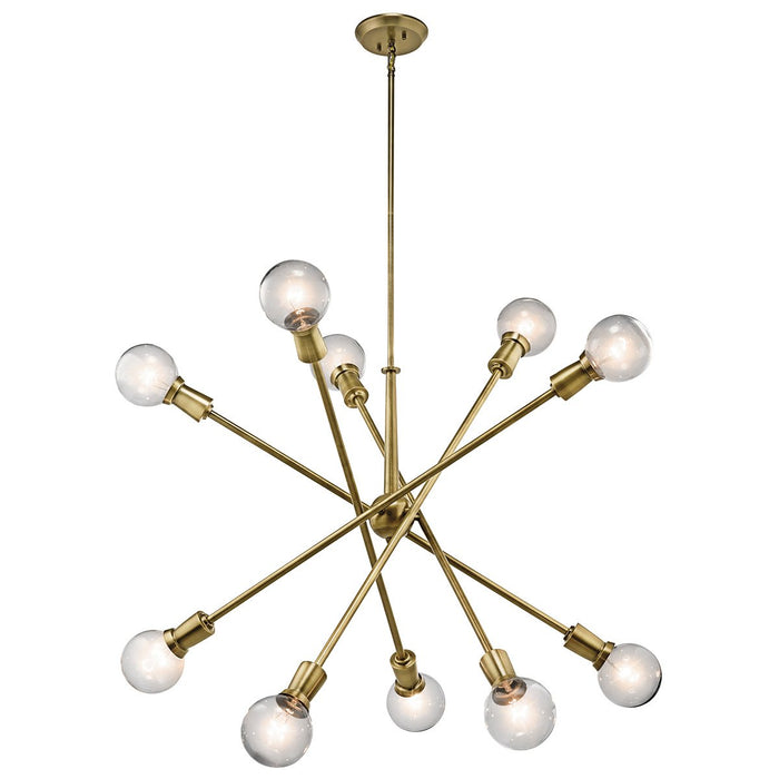 Armstrong 10-Light Chandelier - Natural Brass Finish