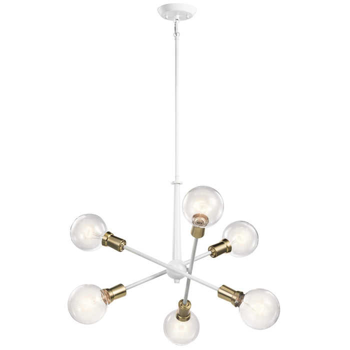 Armstrong 6-Light Chandelier - White/Brass Finish