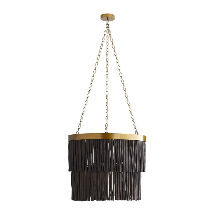 Arya Pendant - Antique Brass Finish Black Wood
