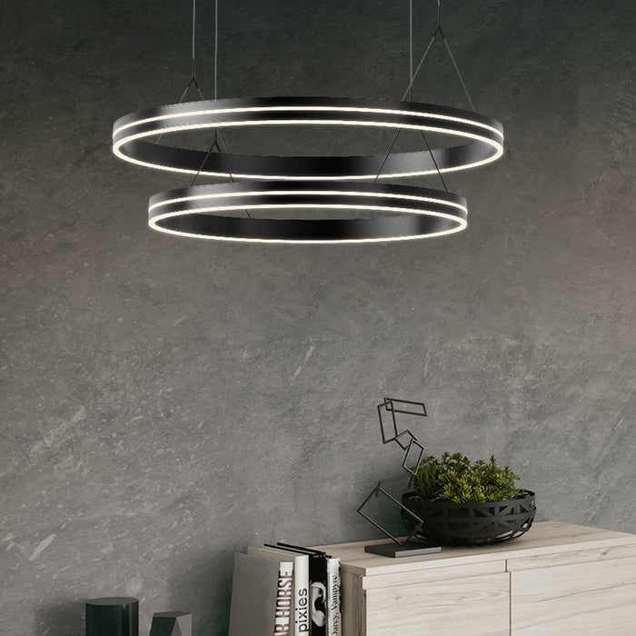 Athena Two Ring Chandelier - Display
