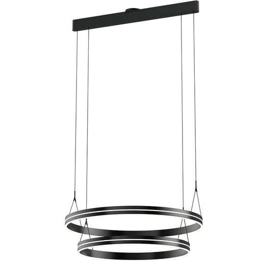 Athena Large Two Ring Chandelier - Satin Brushed Black Finish