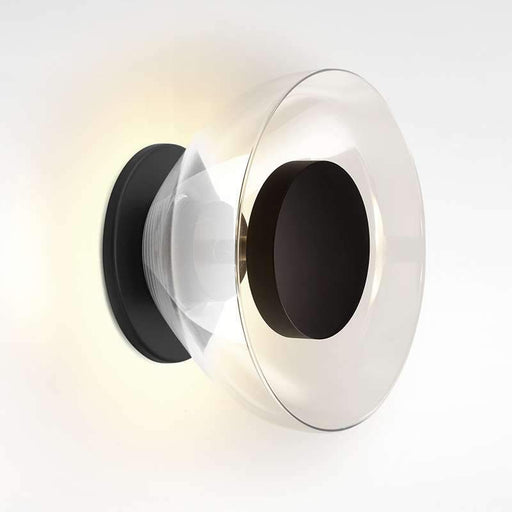 Aura LED Wall Sconce - Black Plate Clear Glass