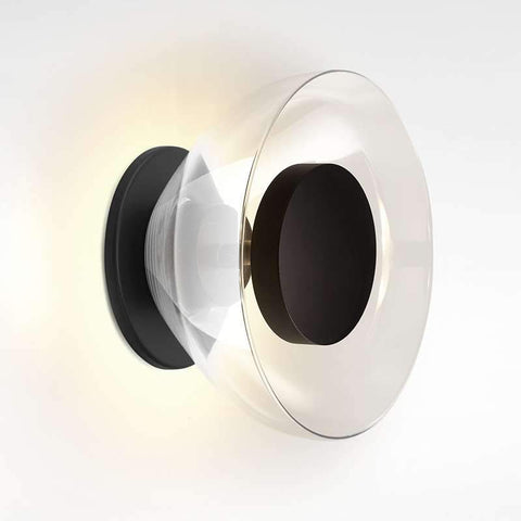 Aura LED Wall Sconce Black Plate Clear Glass