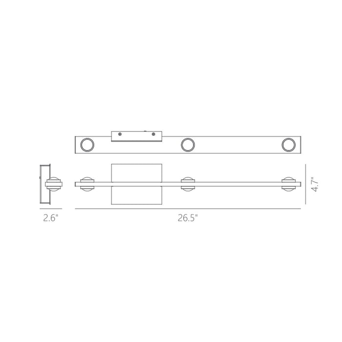 "Aurora 26"" 2-Light Wall Sconce - Diagram"