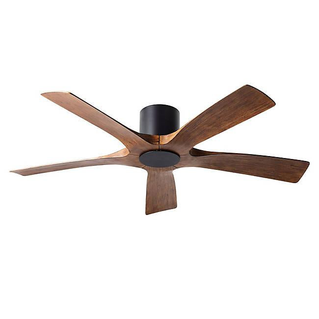 Aviator Smart Flush Mount Ceiling Fan - Matte Black Finish with Distressed Koa Blades