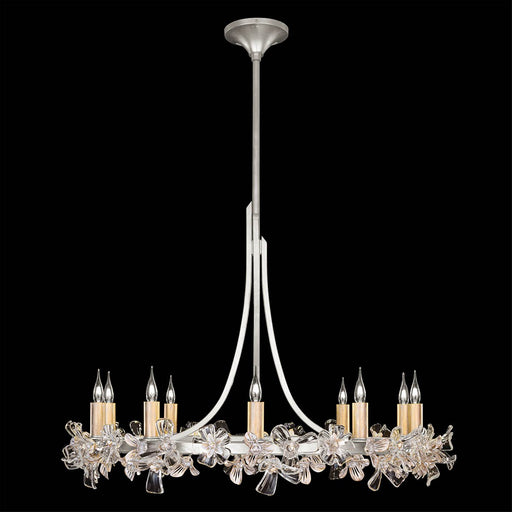 Azu Low Chandelier - Silver Leaf Finish