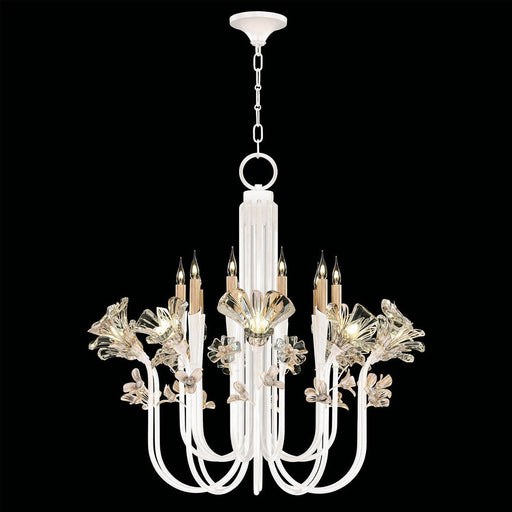 Azu Tall Chandelier - White Gesso Finish