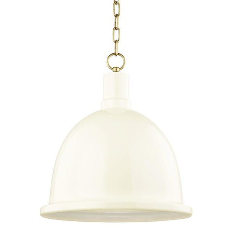 "BLAIR 16"" PENDANT Aged Brass/Cream"