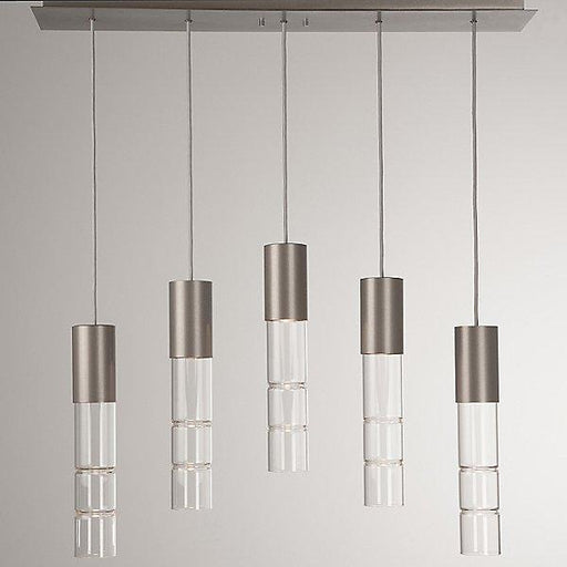 Bamboo 5-Light Linear Suspension Light - Metallic Beige Silver