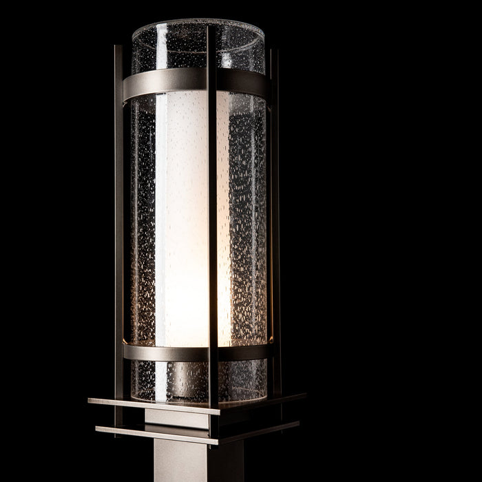 Banded Seeded Glass Outdoor Post Light - Display