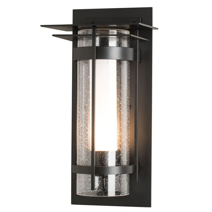 Banded Seeded Glass Outdoor Wall Sconce with Top Plate