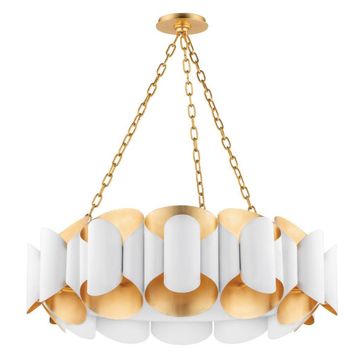 Bank Chandelier - Gold Leaf/White Finish