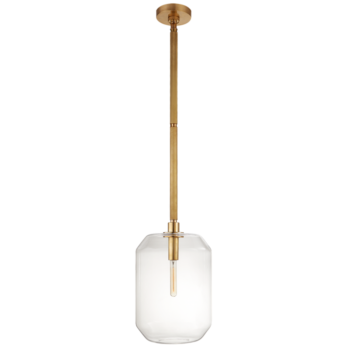 Barrett Medium Knurled Pendant - Natural Brass Finish