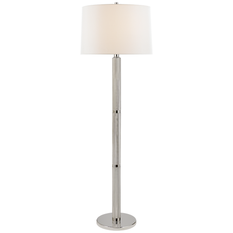 BARRETT LARGE KNURLED FLOOR LAMP IN POLISHED NICKEL