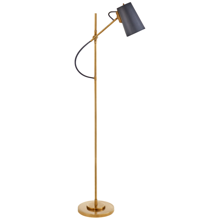 Benton Adjustable Floor Lamp - Natural Brass Finish with Navy Leather Shade