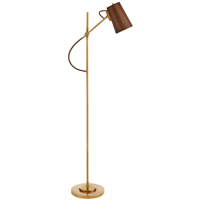 Benton Adjustable Floor Lamp - Natural Brass Finish with Saddle Leather Shade