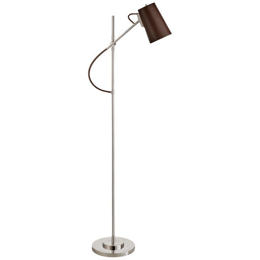 Benton Adjustable Floor Lamp - Polished Nickel Finish with Chocolate Leather Shade