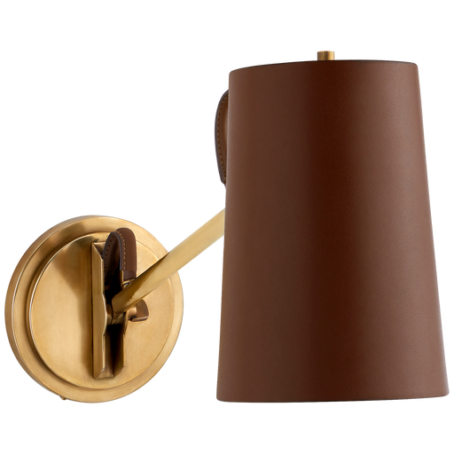 Benton Single Library Sconce - Natural Brass/Saddle Leather Shade
