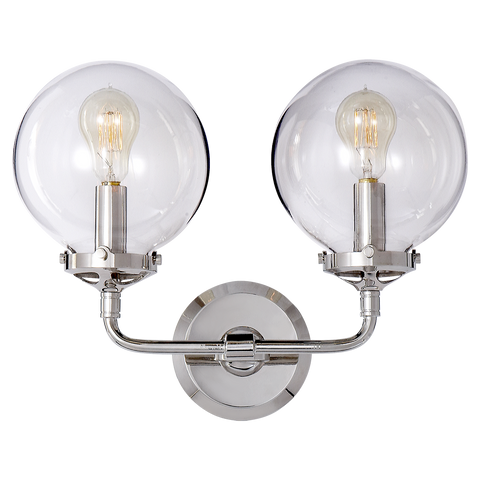 Bistro Double Light Curved Sconce Polished Nickel