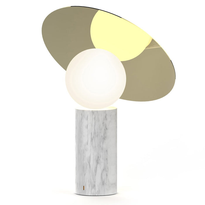 Bola Disc Table Lamp - Carrara White Marble & Brass Shade