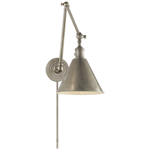 Boston Functional Double Arm Library Light - Antique Nickel