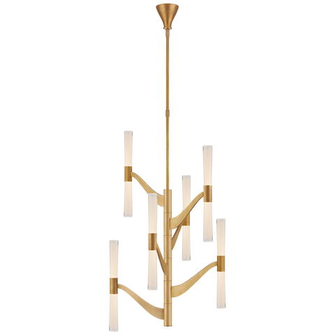 Brenta Medium Tall Chandelier - Hand-Rubbed Antique Brass Finish