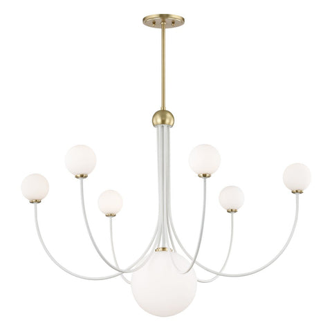 "COCO 39.5"" CHANDELIER Aged Brass/White"