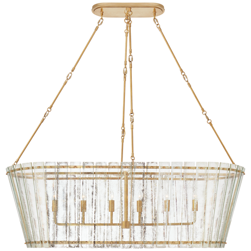 Cadence Grande Linear Chandelier - Hand-Rubbed Antique Brass Finish with Antique Mirror Glass