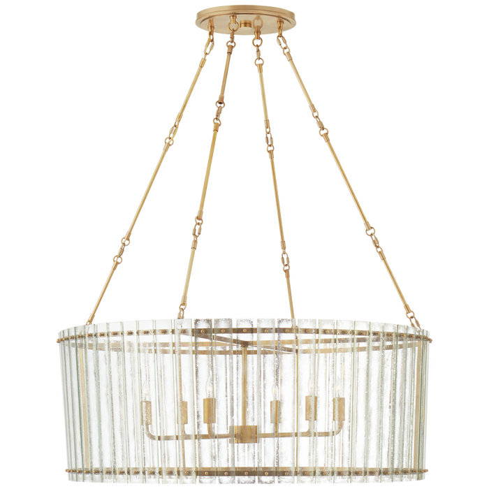 Cadence Large Chandelier - Hand-Rubbed Antique Brass Finish with Antique Mirror Shade