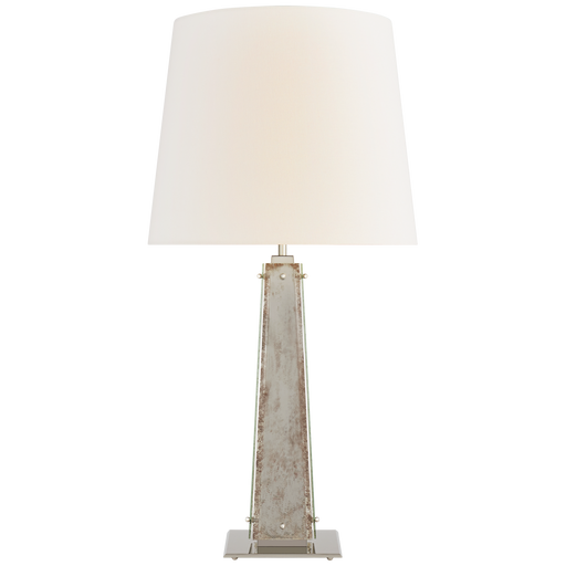 Cadence Large Table Lamp - Polished Nickel Finish with Antique Mirror Glass