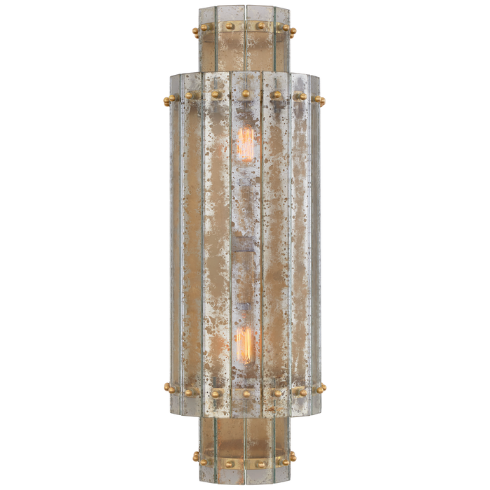 Cadence Large Tiered Sconce - Hand-Rubbed Antique Brass Finish with Antique Mirror Glass