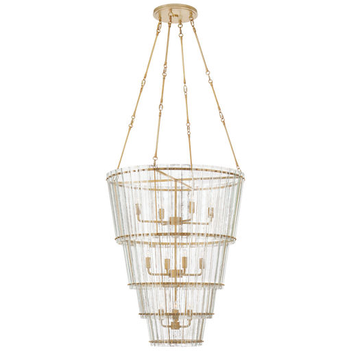 Cadence Large Waterfall Chandelier - Hand-Rubbed Antique Brass Finish with Antique Mirror Shade