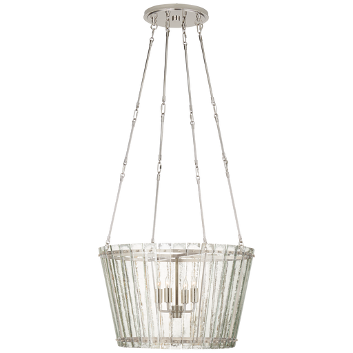 Cadence Medium Chandelier - Polished Nickel Finish with Antique Mirror Shade