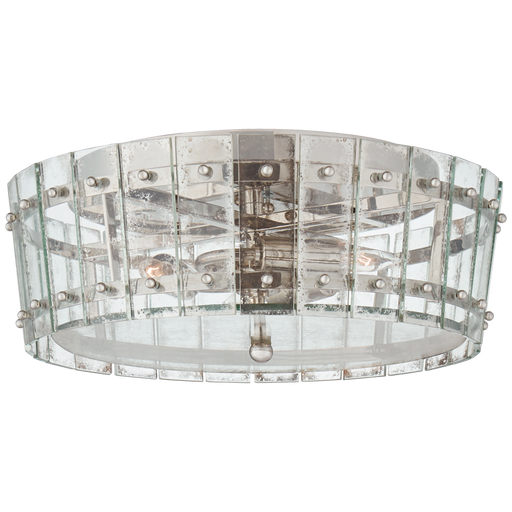 Cadence Medium Single-Tier Flush Mount - Polished Nickel Finish with Antique Mirror