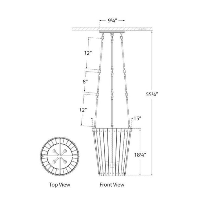 Cadence Small Tall Chandelier - Diagram