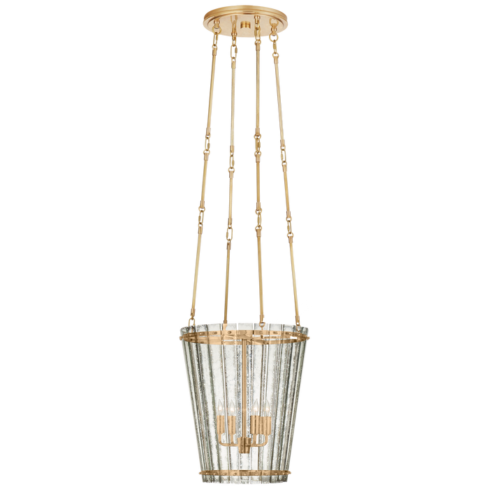 Cadence Small Tall Chandelier - Hand-Rubbed Antique Brass with Antique Mirror Shade