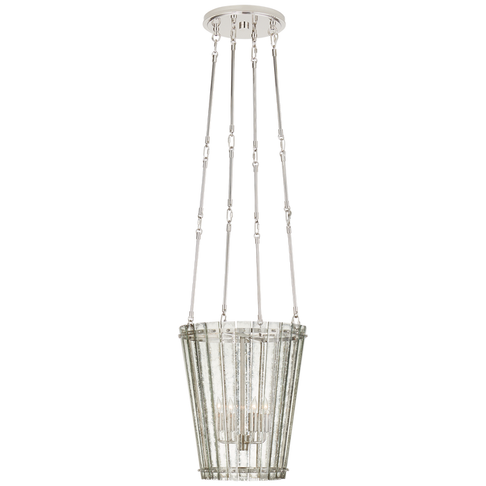 Cadence Small Tall Chandelier - Polished Nickel Finish with Antique Mirror Shade