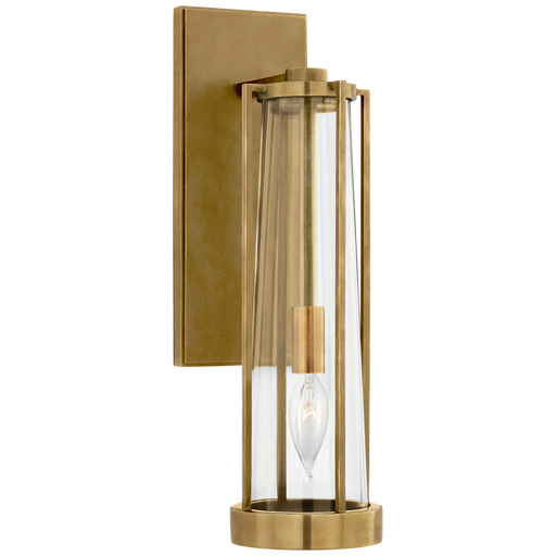 Calix Bracketed Sconce - Hand-Rubbed Antique Brass with Clear Glass