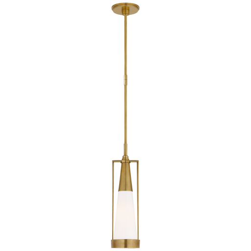 Calix Small Pendant - Hand-Rubbed Antique Brass & White Glass